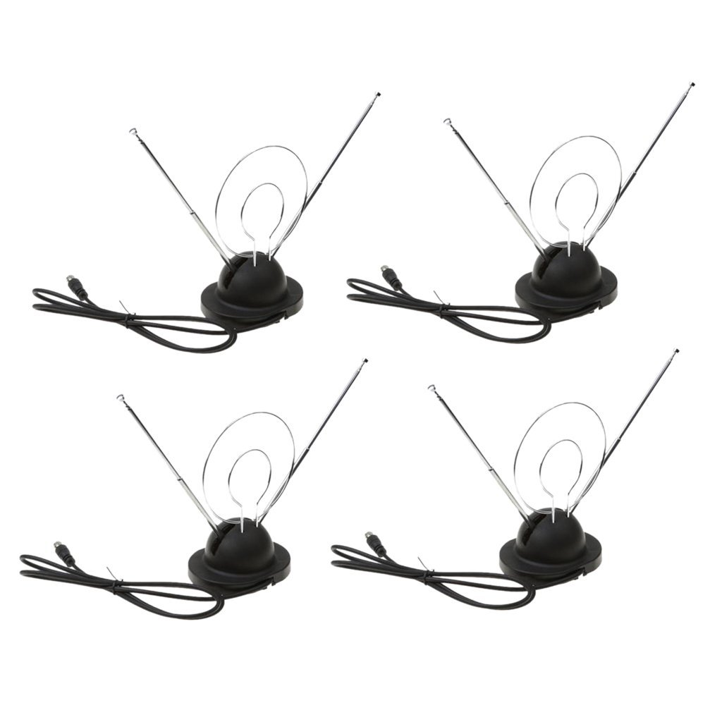 UNIVERSAL INDOOR RABBIT EARS TV ANTENNA FOR HDTV READY VHF UHF DUAL LOOP COAXIAL