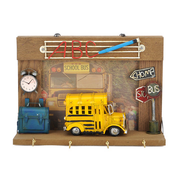 Wood Photo Frame With Hooks Wall Hanging Home Decor Photo Frame Handmade School Bus Model Home Bar Cafe Decoration