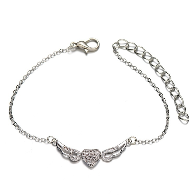 SJPN0047 Alibaba Express Fashion Brass Full Pave Cubic Zirconia Heart Shape Angel's Wings Chain Bracelet for Girls