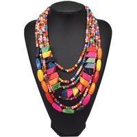 Bohemian Multilayer Wood Bead Choker Necklaces For Women Handmade Beaded Statement African Necklace Jewelry