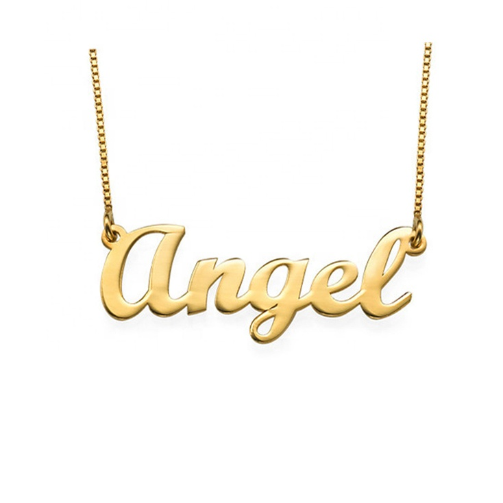 Drop Shipping 18 천개 금 Plated Angel Name Necklace Jewelry Custom 도금 넘 925 Sterling Silver 명판 목걸이