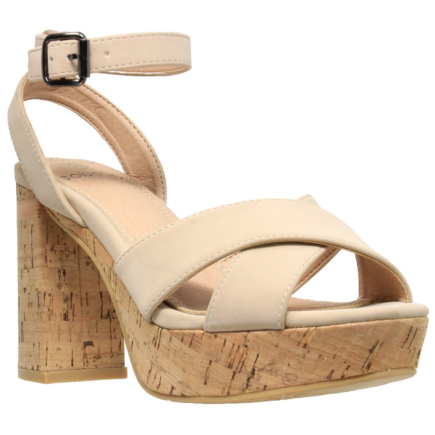 c418afdf6dc Get Quotations · SOBEYO Womens Platform Sandals Ankle Strap Wrapped Cork Chunky  Block Heel Shoes