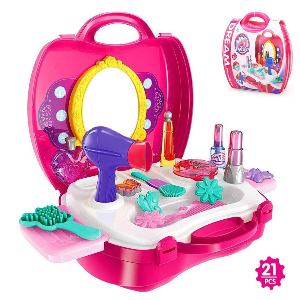 faa48c2fe Get Quotations · BonnieSun 21 Pcs Kids Pretend Play Makeup and Cosmetic  Vanity Case Durable Dress-up Beauty