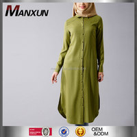 2016 New Women Long Sleeve Islamic Clothing Soldiers Green Button Blouse Lady Long Puff Shirt Tunic Tops