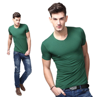 China Best Clothing Manufacturers High Quality Blank Men's t shirts Gym Sport V Neck 95% Cotton and 5% Spandex Men's t shirts