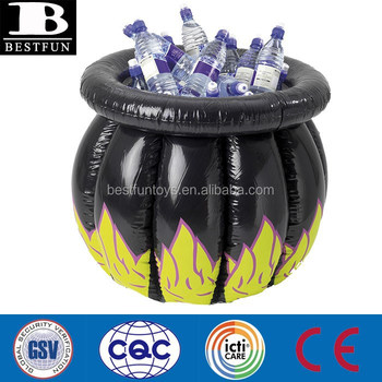 halloween plastic party decoration inflatable witchs cauldron cooler ice holder beer bottle ice bucket for sale