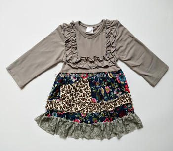 8fdaa5162c Baby frock designs remake girls clothing leopard print cool long sleeve  floral lace girls boutique dresses