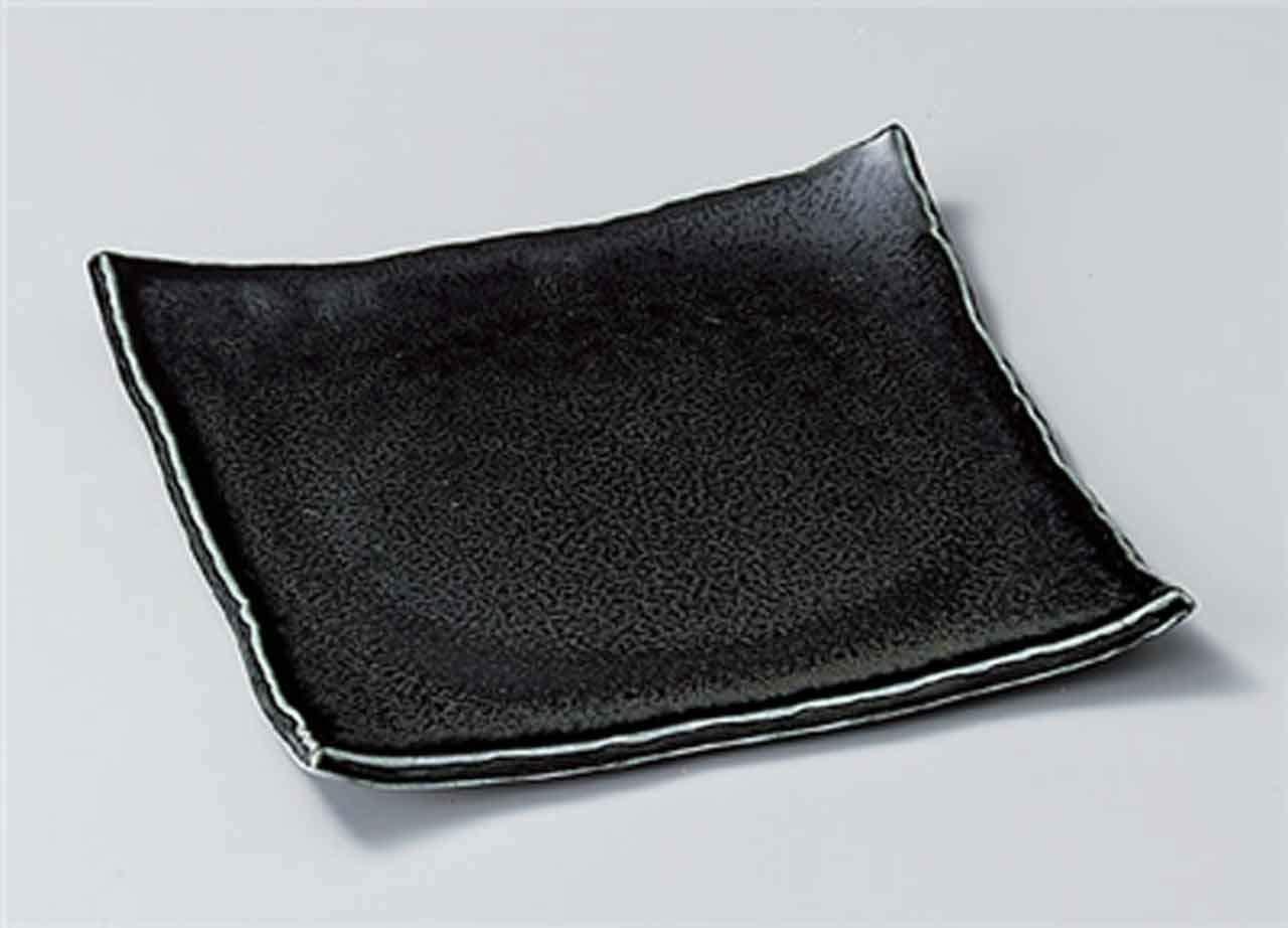 Ibushi-Black 8.5inch Medium Plate Black porcelain Made in Japan