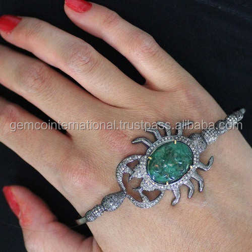 925 Silver Gemstone Animal Jewelry, Pave Diamond Emerald Scorpion Palm Fashion Bracelet