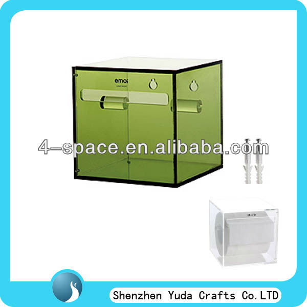 Square Acrylic wall mounted tissue box holder