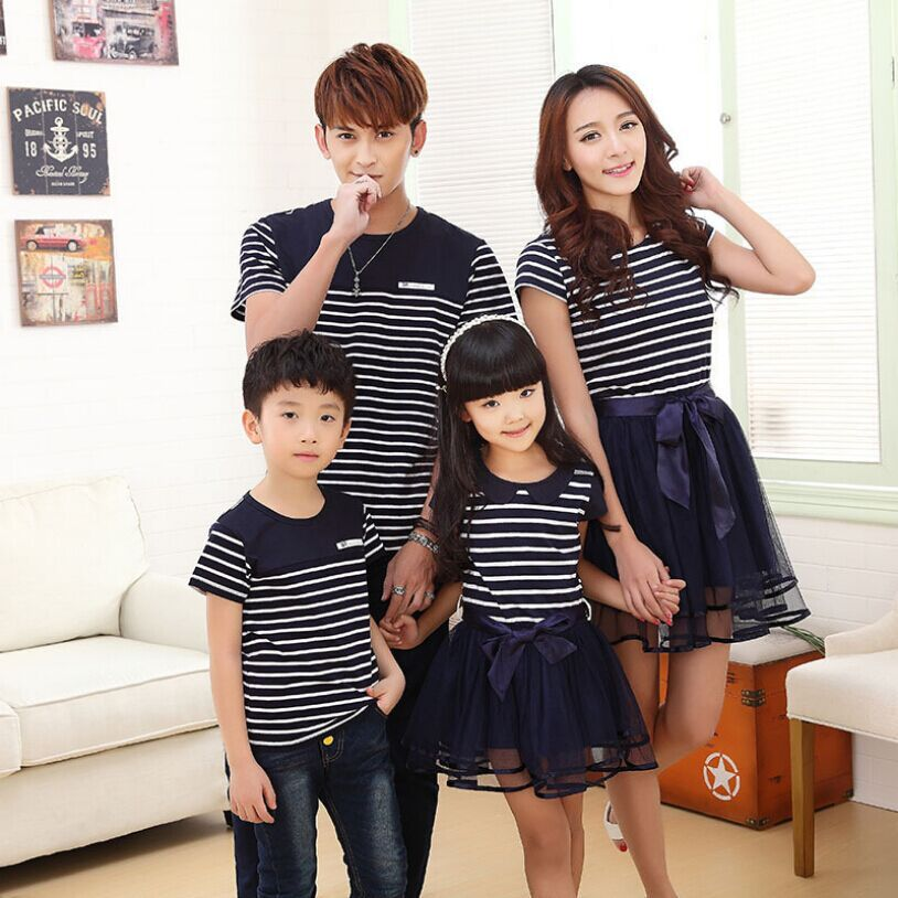 2015 New Simple Striped T Shirt and shorts Mesh Dress Family Matching Outfits Family suit Mother