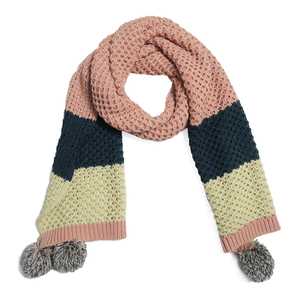 Wholesale High Quality Cheap New Fashion Muffler 100% Acrylic Knitted Striped Scarf with Pompom for Women