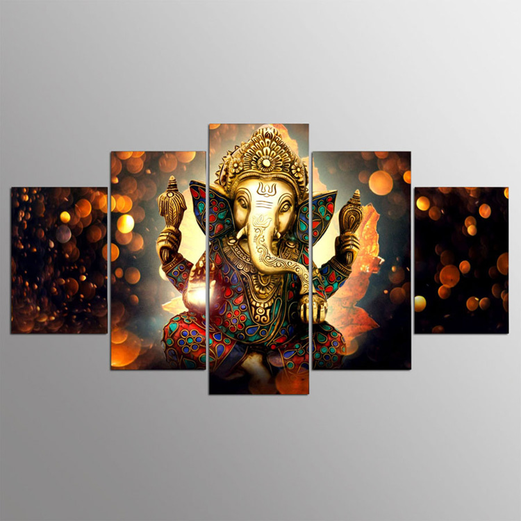 HD Printed 5 Piece Canvas Art Hindu God Ganesha Elephant Painting Wall <strong>Pictures</strong> for Living Room Modern Canvas Wall Painting