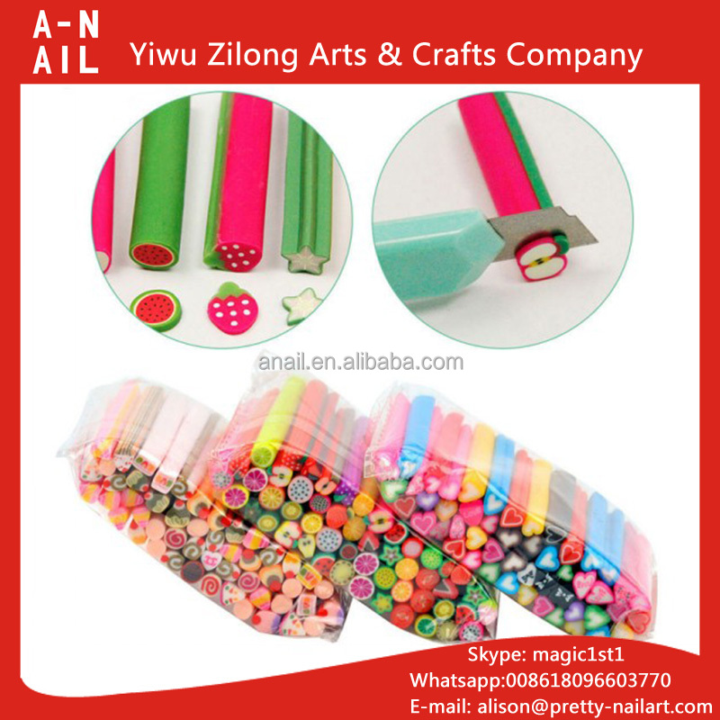 Fruit Nail Stickers Fimo Canes 3D Beauty Nail Art Decoration Polymer Clay Animal Flower DIY Fimo Rods Stick
