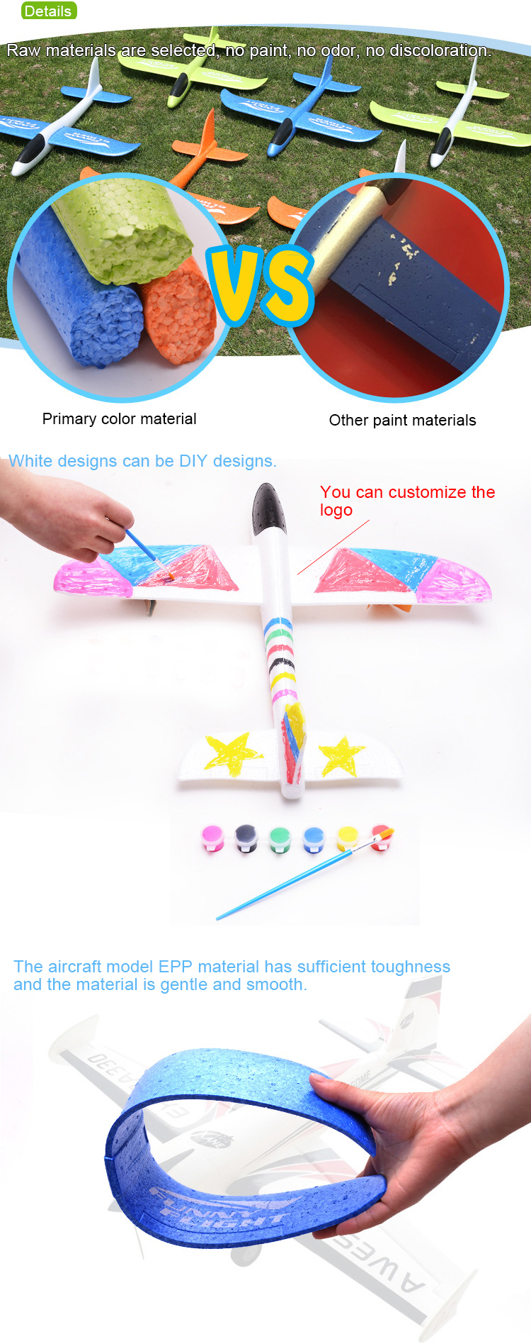 New Airplane 2 Flight Mode Glider Aircraft Throwing Foam Inertia Toy Model  Outdoor Sports Flying Toy For Kids As Gift// - Buy Throwing Foam Inertia