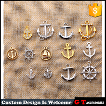 Wholesale Glod Silver Alloy Rhinestone Pave Anchor Rudder Shaped Pendant Jewelry Accessories Finding