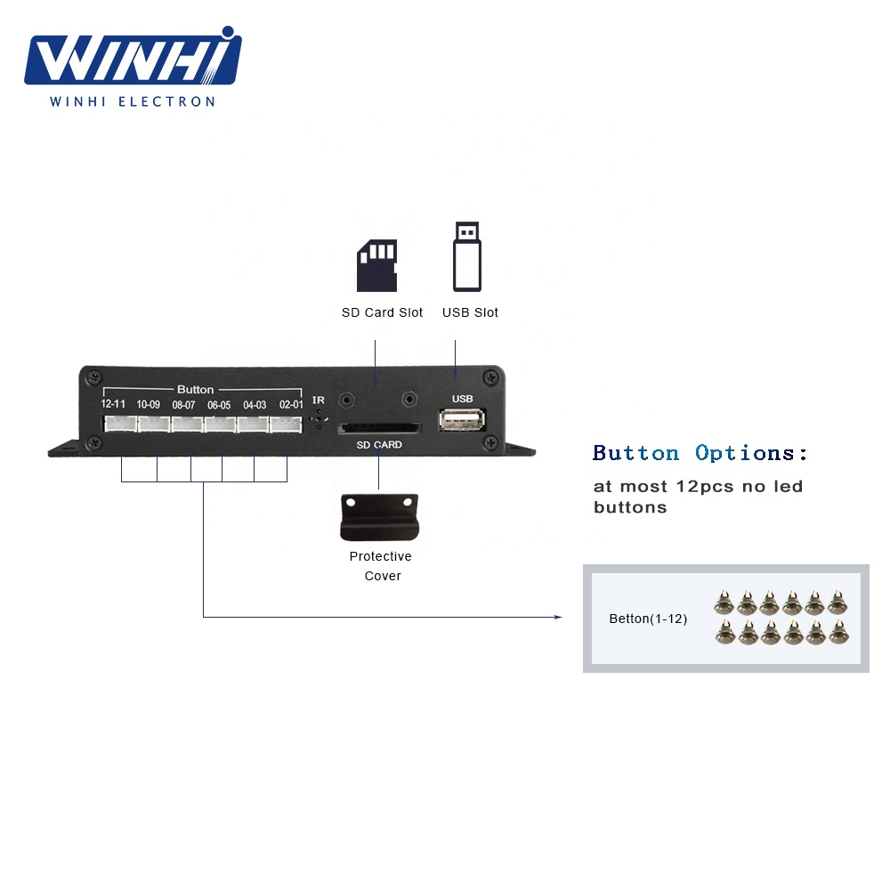 MPC1005-12 WINHI OEM/ODM 12 pcs media player with external button video player hd box media player classic loop