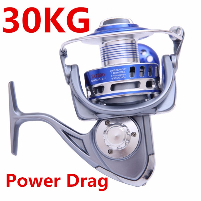 MX4000-10000 30KG Power Drag 12+1 Ball Bearings Spinning Reels Heavy Duty Sea Fishing Boat Fishing Jigging Fishing Reel, Gray with blue