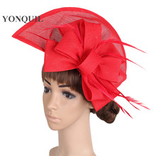 16c84b69f2c3c 2018 Women Vintage big derby loop fascinators hats red ladies event feather  headwear race hair accessories