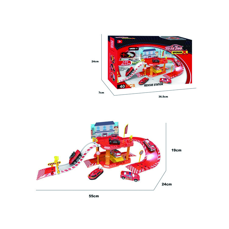 Car Parking System toy Model car parking set Firefighting station toys for kids