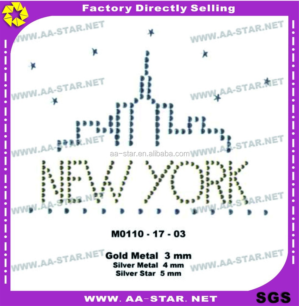 "alphabet letters ""New york"" castle rhinestone designs hot fix transfer motif iron on the clothing"
