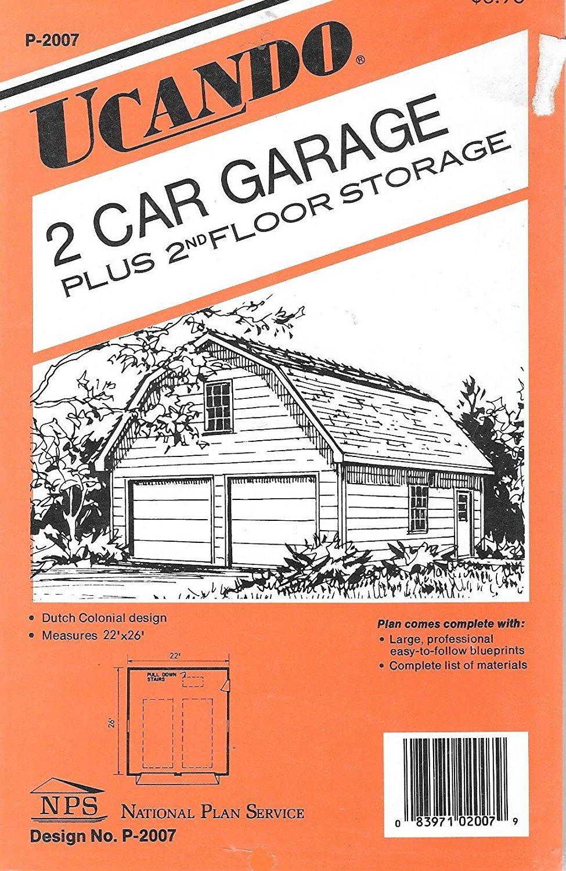 Get Quotations · Two Car Garage Plus 2nd Floor Storage Building Plans