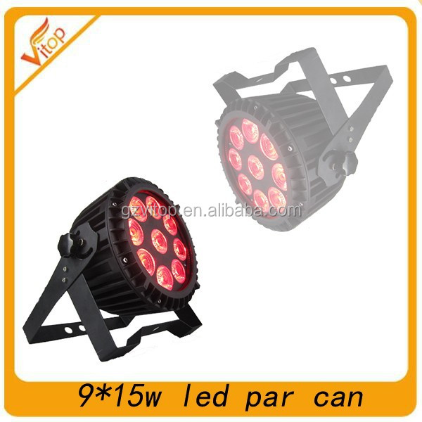 2015 new professional Stage slim uplight 9x15w RGBWA+UV LED waterproof par light