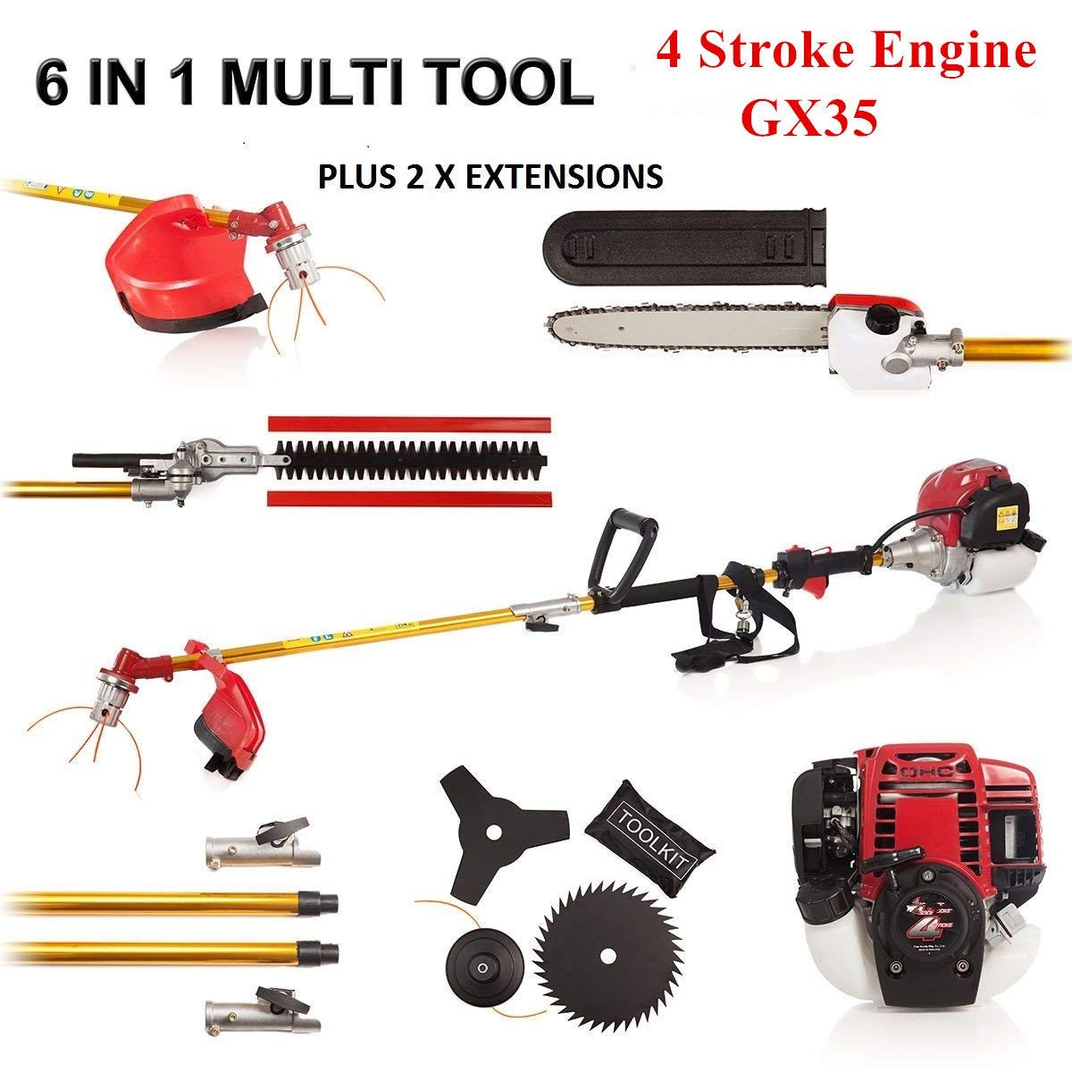 FENGKE 4STROKE 6 in1 Grass Cutting Multi Tool Garden Set: Chainsaw Trimmer Strimmer Brush Cutter