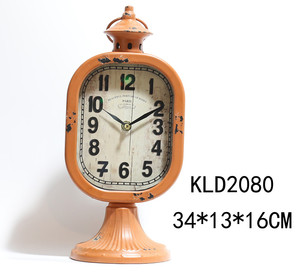 ountryside style antique metal and glass mechanical table clock