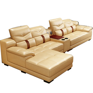 Modern fashion grey fabric 7 seater sofa set designs living room furniture L shaped sectional corner couch combination sofas