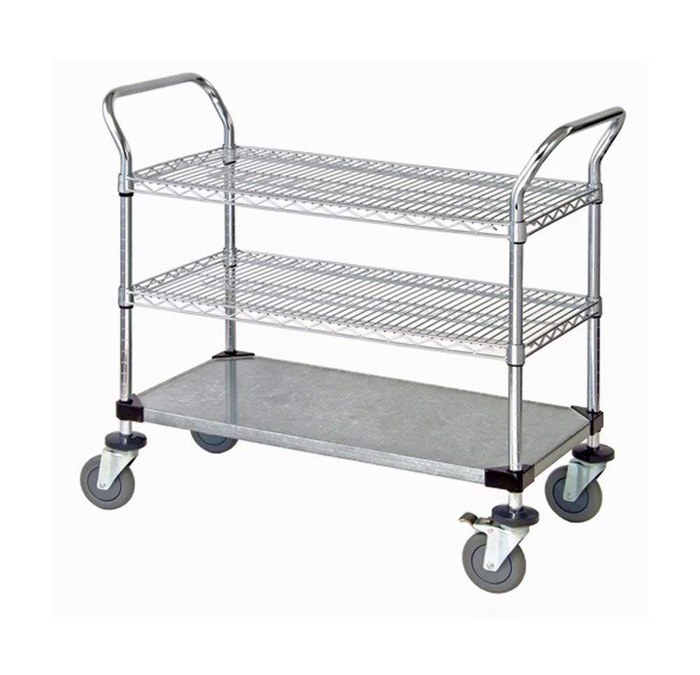 """Quantum 2 Wire Shelf & 1 Solid Shelf Mobile Utility Cart 24""""""""W x 48""""""""L x 37-1/2""""""""H , Automotive, tool & industrial , Office maintenance, janitorial & lunchroom , Carts , Service/utility"""