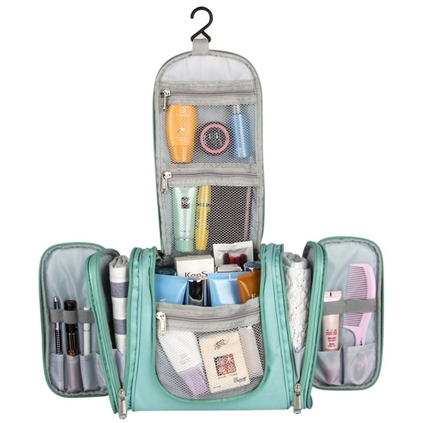 Large Capacity Fashion Travel Cosmetic Custom Toiletry Bag Hanging With Brush Holders