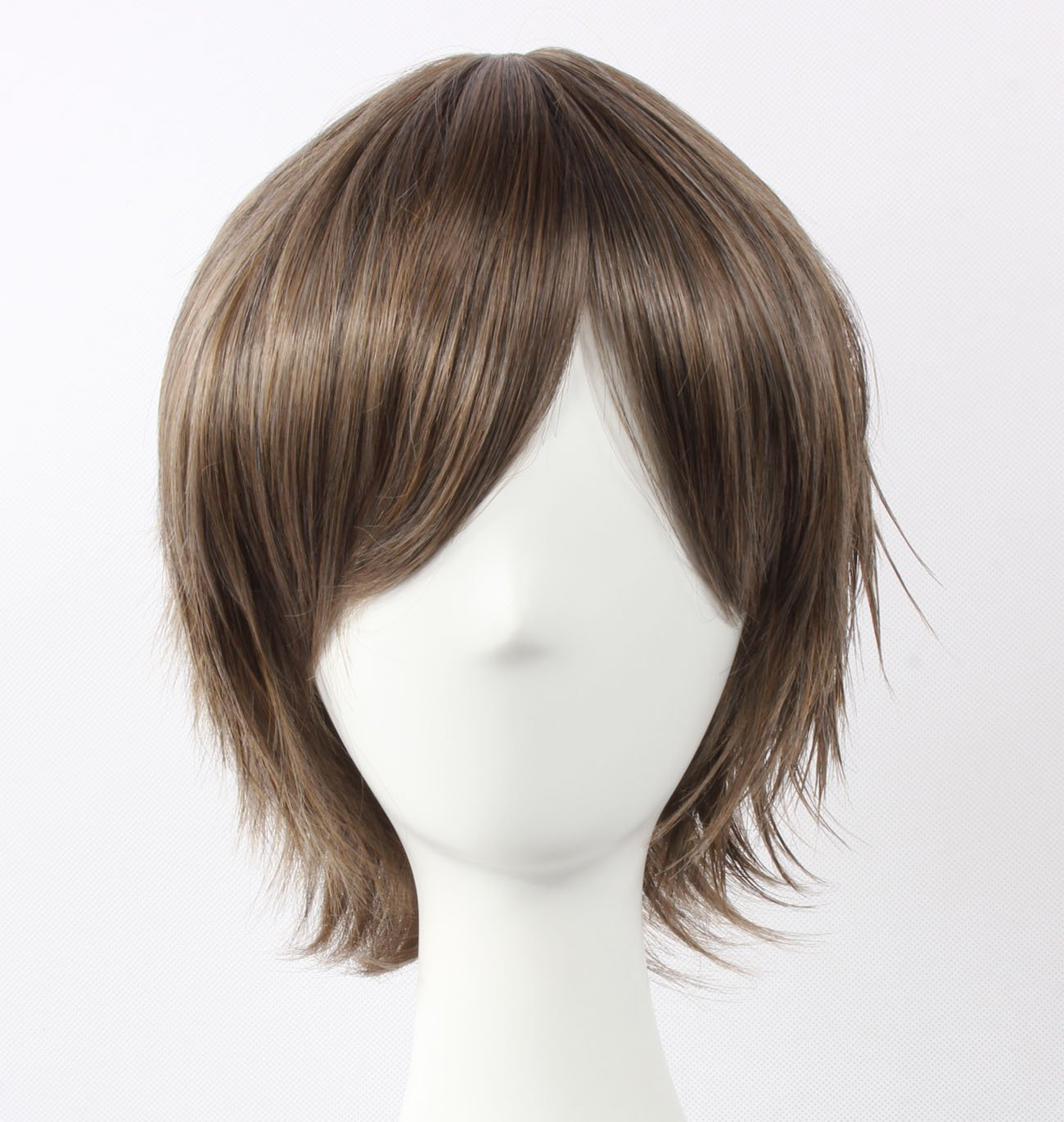 Coolsky Wig Dark Grey Wig Short Dark Grey Layered Wig Konoe Wigs