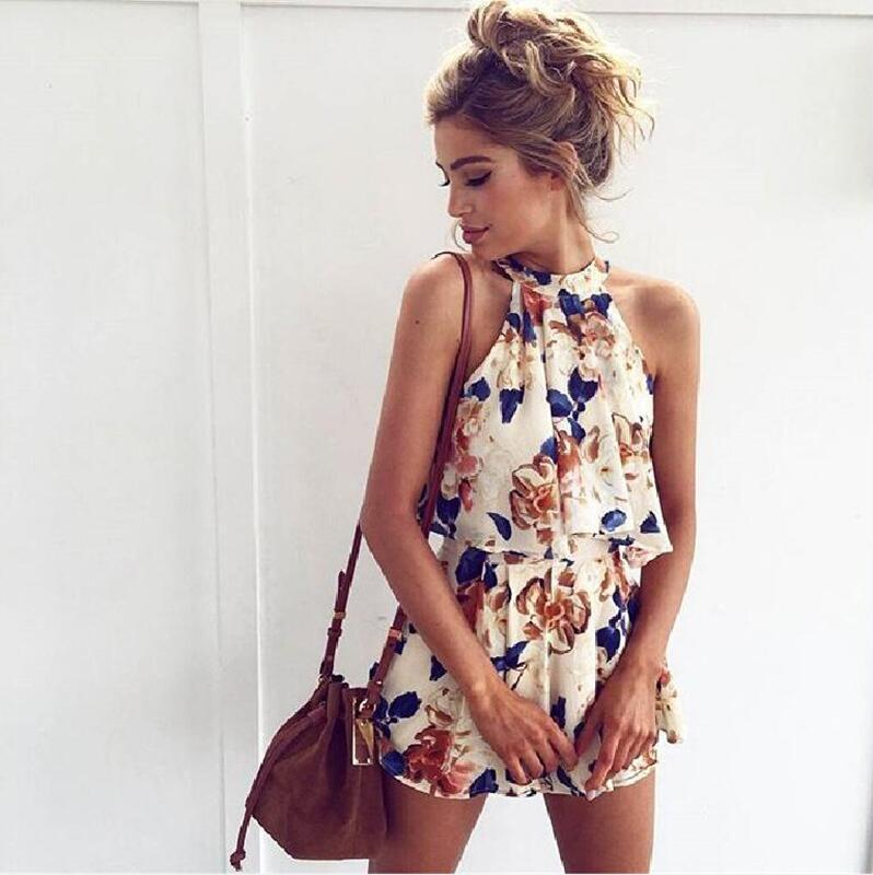2019 Summer Women's Clothing New Style Sexy Fashion Sleeveless Hang Backless Printing Suit Dress