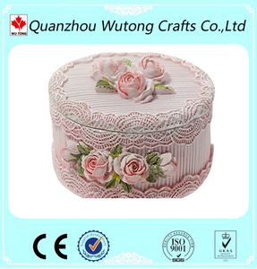 hand painted resin craft decoration rose jewelry box souvenir items round flower box