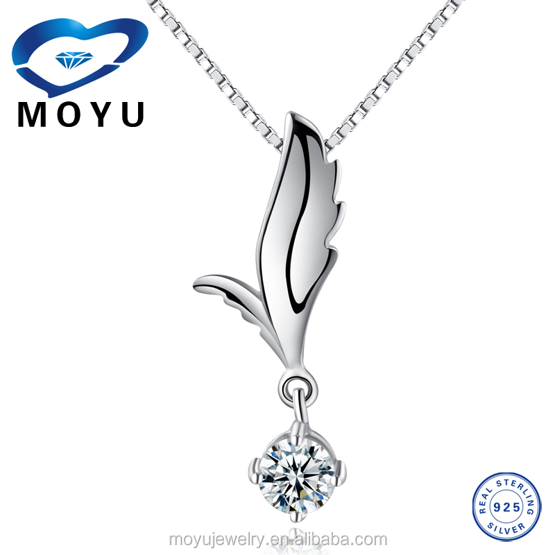Body piercing jewelry 100% 925 sterling silver angel wing pendant with one stone wholesale online
