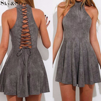 New design grey halter A-line fashion dress