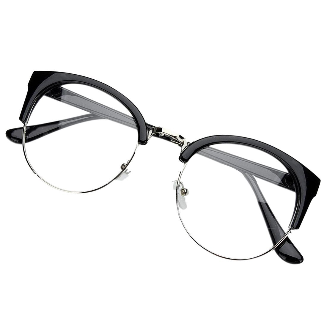 2cb3cc7d45 Get Quotations · Glasses - SODIAL(R)Retro Style Women Men Round Nerd  Glasses Clear Lens Eyewear