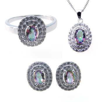 High Quality 925 Sterling Silver Mystic Topaz Jewelry Set Bridal Jewelry Set Wholesale DR0241262S