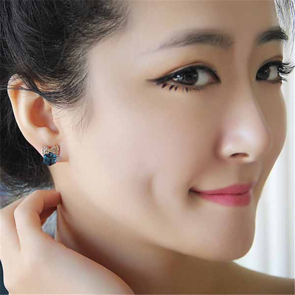 Wholesale Promotion  Zirconia Square Cube Pendant Drop Earrings