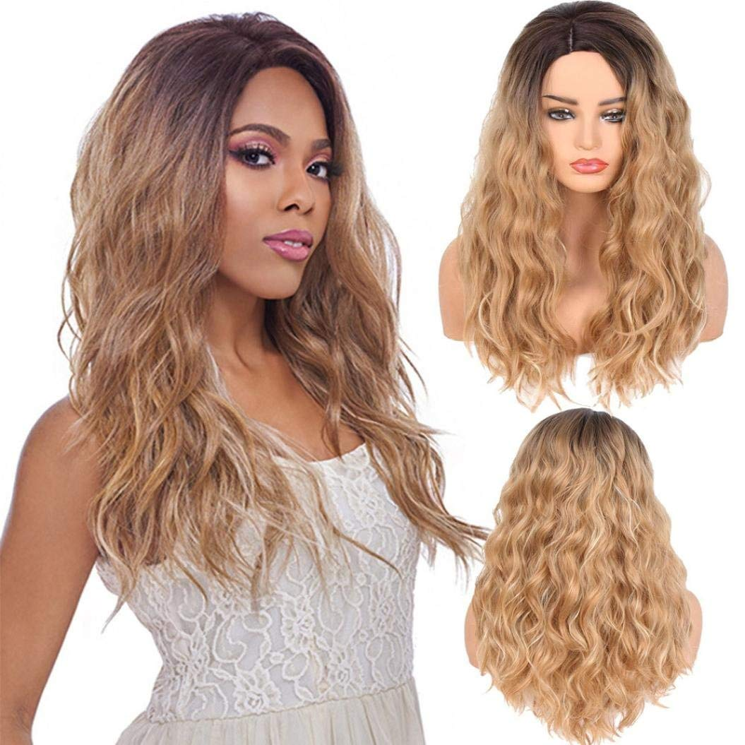 """23"""" LiPing Lady Wig with Wig Cap Natural Looking Heat Resistant -Sexy Women Fashion Lady Big Wave Gradation Golden Wig Curly Hair (A)"""