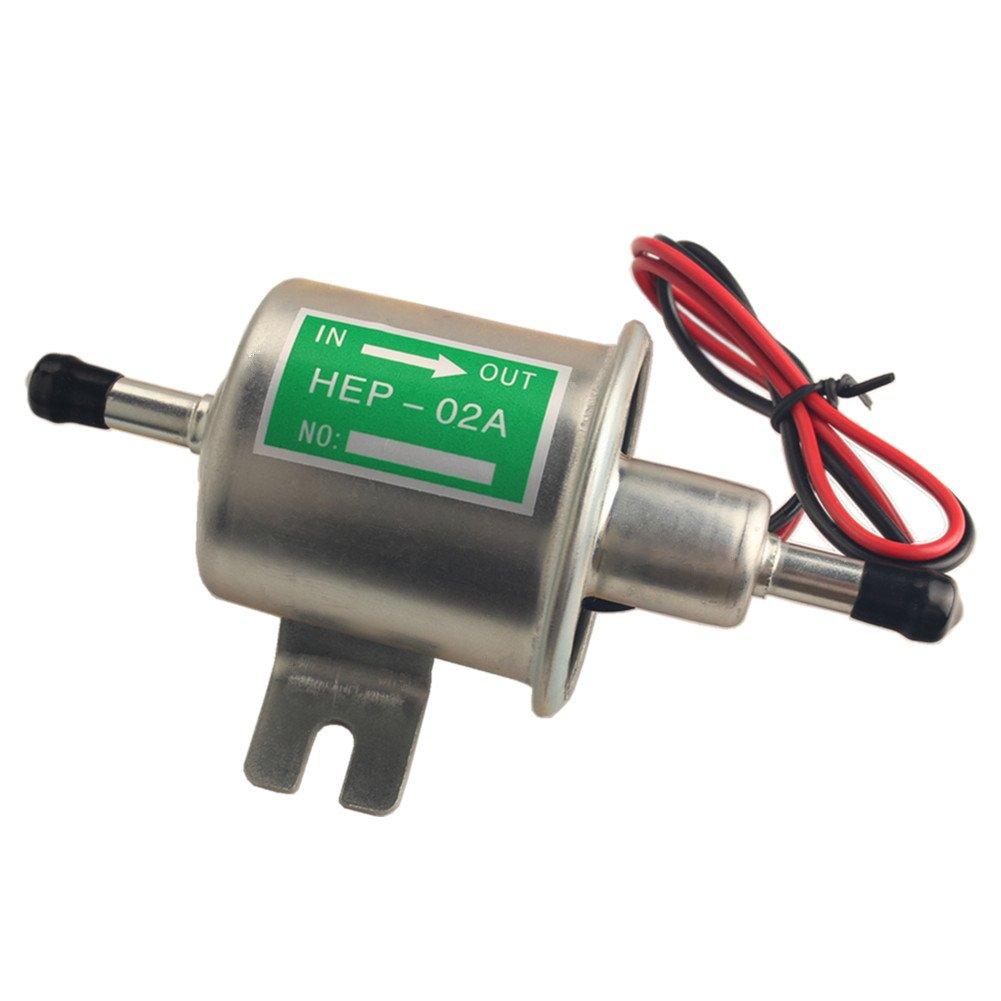 Get Quotations · Dewhel Universal 12V Low Pressure Gas Diesel Inline  Electric Fuel Pump HEP-02A 4-