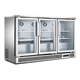 380L Three door fan cooling under counter glass door fridge back bar horizontal refrigerator