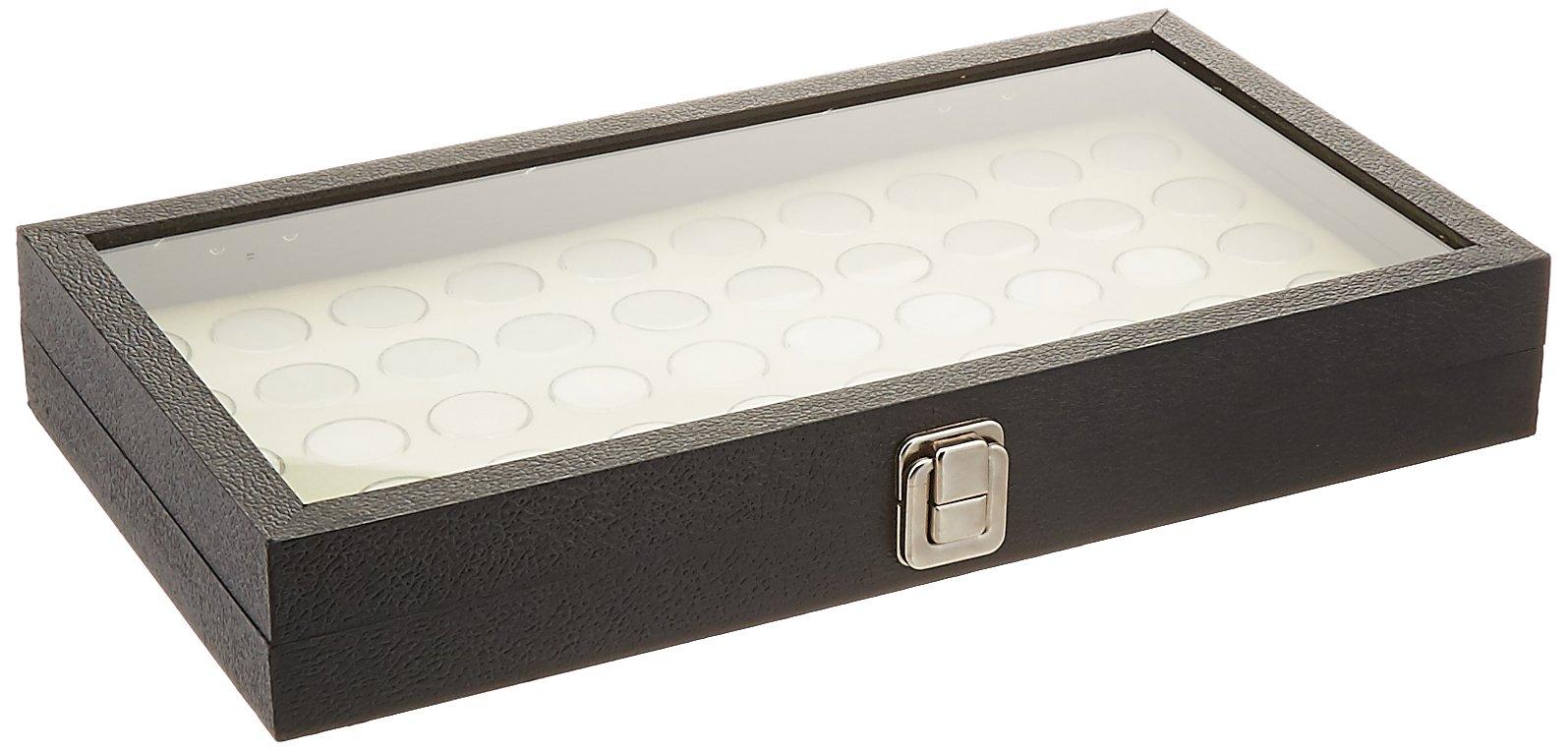 New Glass Top Jewelry Display Case Box with White 50 Gemstone Jars