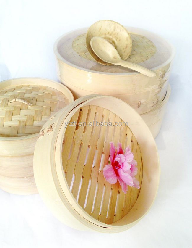 "7.9"" / 20cm 2 Tier Bamboo Steamer Dim Sum Basket Rice Pasta fish Healthy Cooker"