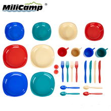 Food Grade Contact Safe Plastic Cutlery Set Camping Plastic Tableware Dinner Table Set