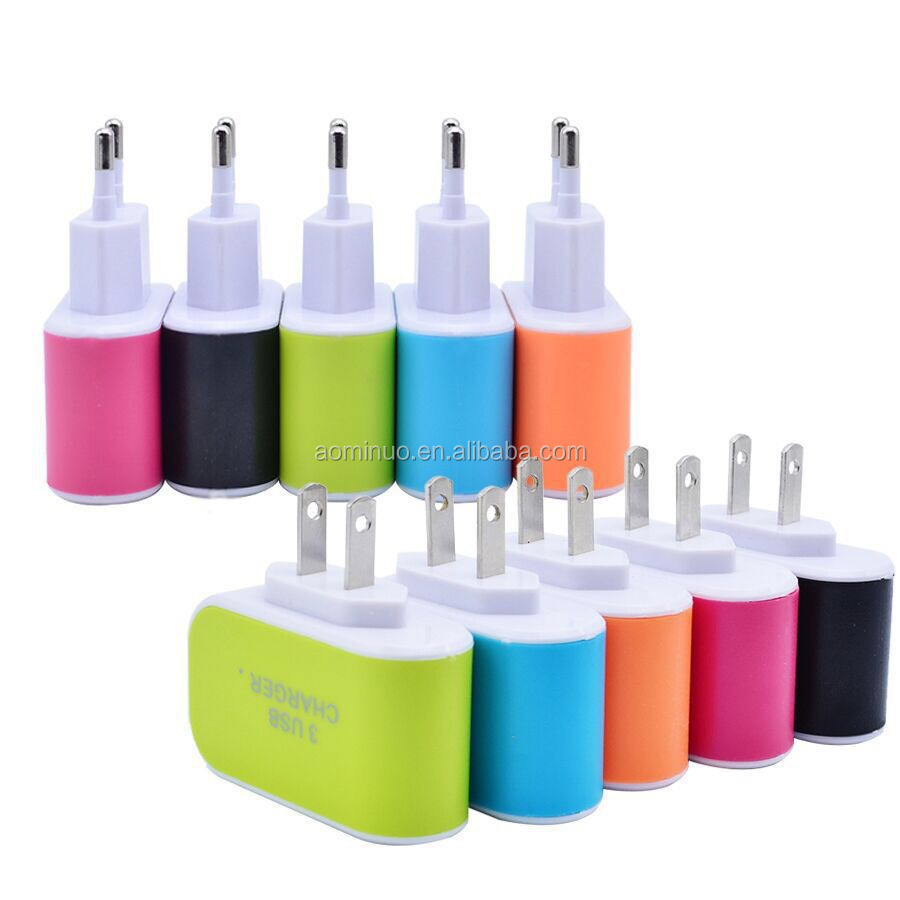 Wholesale portable Candy Color LED Light Wall Home Travel AC Power Adapter 3 Ports USB Charger For iPhone 6 6Plus Samsung