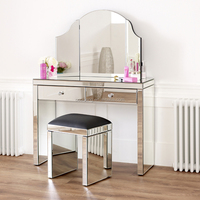 Luxury large white mirrored dressing table with mirror and stool