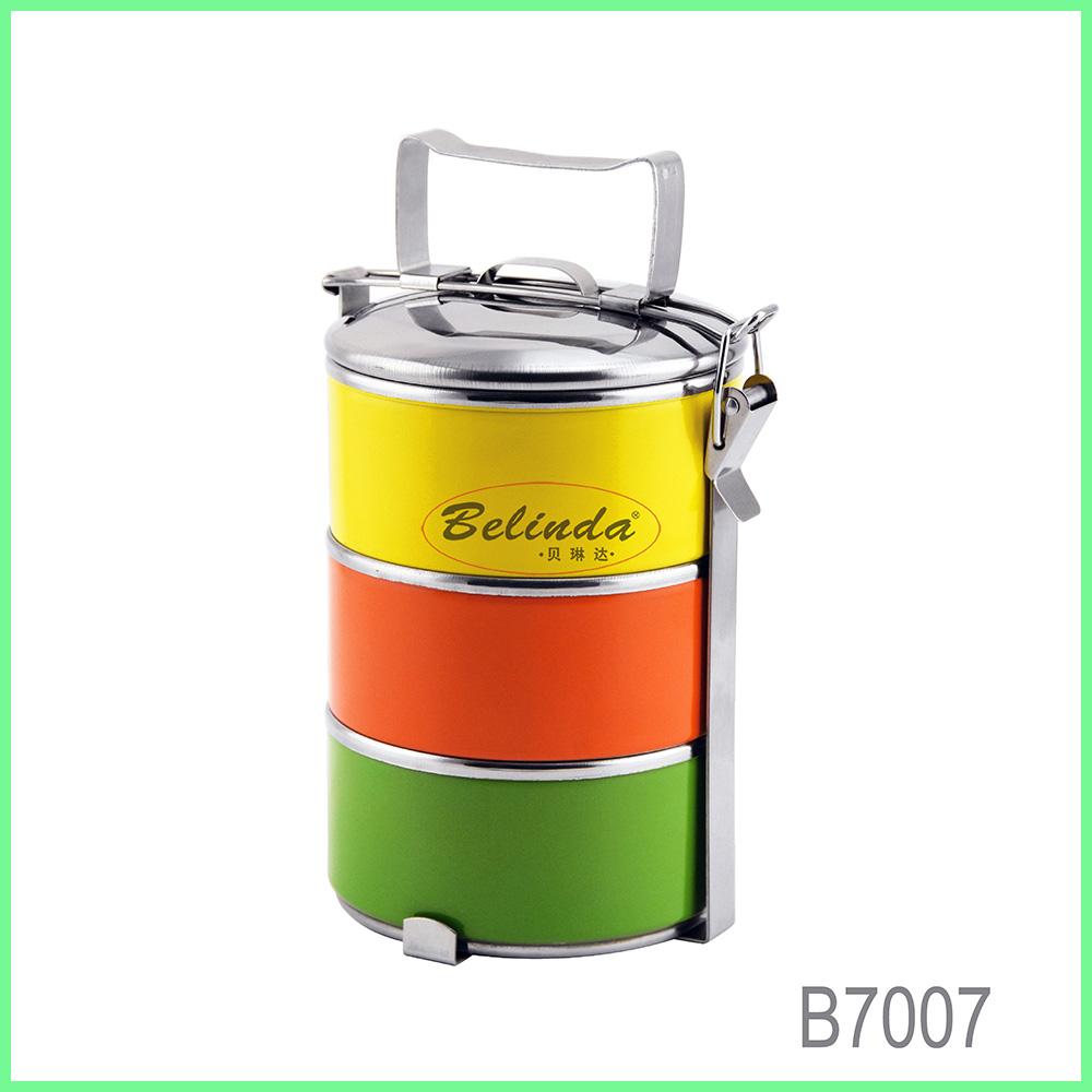 Dubbele Wand Geïsoleerd Food Grade Rvs 304 Tiffin Carrier Thermische Lunchbox