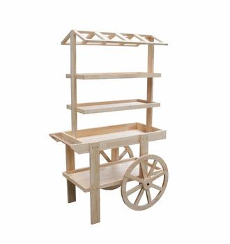 Ym05114 Display Shelf With Two Wheels Wooden Display Rack Flowers Retail  Display Cart - Buy Wooden Display Rack,Flowers Retail Display Cart,Display